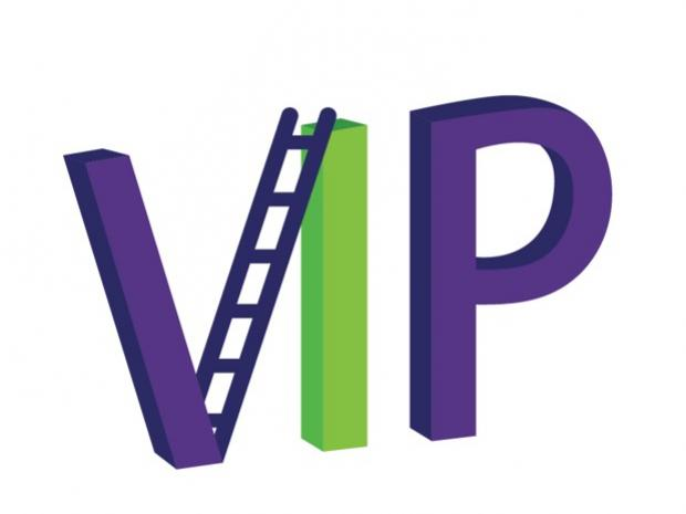 VIP graphic with a ladder as the right-half of the V in purple and green
