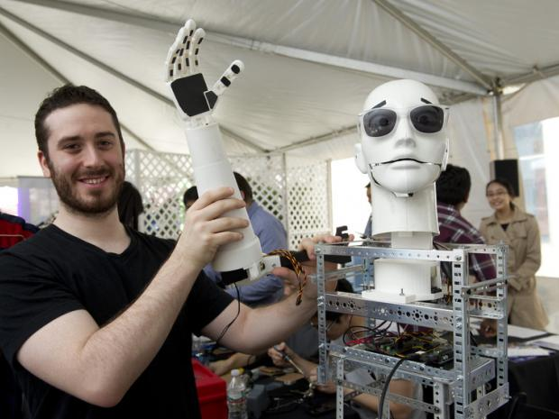 Grad student with Caesar robot