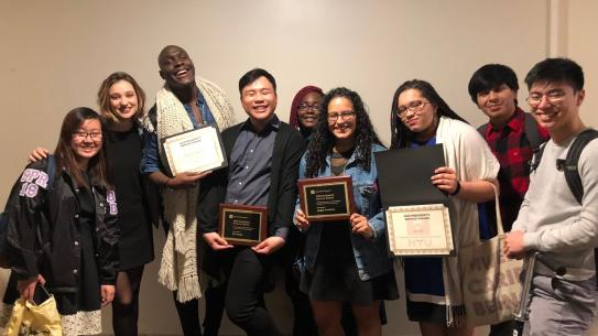NYU Tandon students celebrate each other's awards.