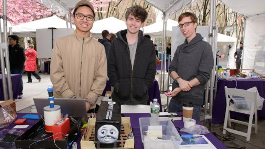 Tana Siboonruang, Liam Vesey, and Leif Carlisle with car