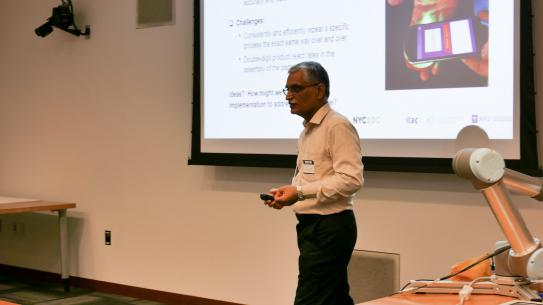 Professor Vikram Kapila shared insight into the benefits of robots as manufacturing solutions.