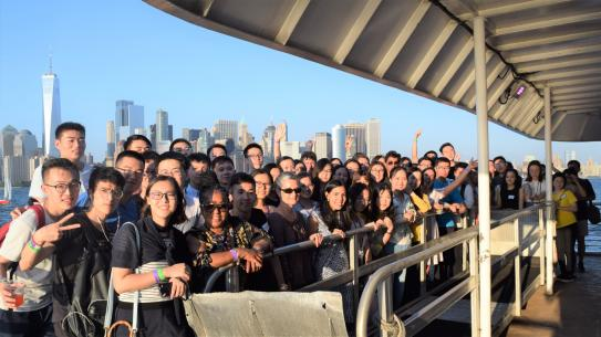 Photo of students on boat cruise.