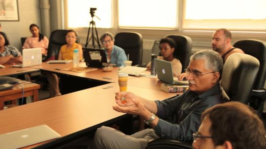 NYU Tandon Mechanical and Aerospace Engineering Professor Vikram Kapila offers feedback to Mechatronics RET participants.