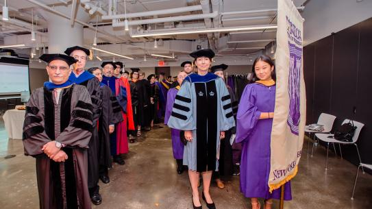 NYU Tandon faculty prepares to enter the convocation ceremony
