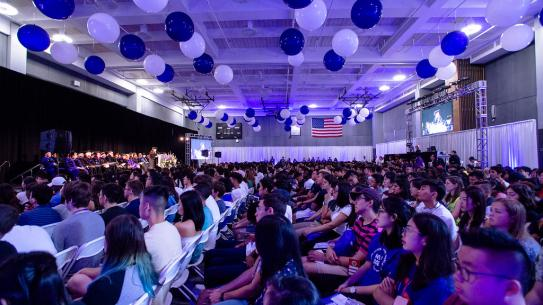 Incoming students watch convocation ceremony