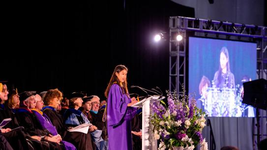 Florence Tong, NYU Tandon Student Council President, addresses the incoming class