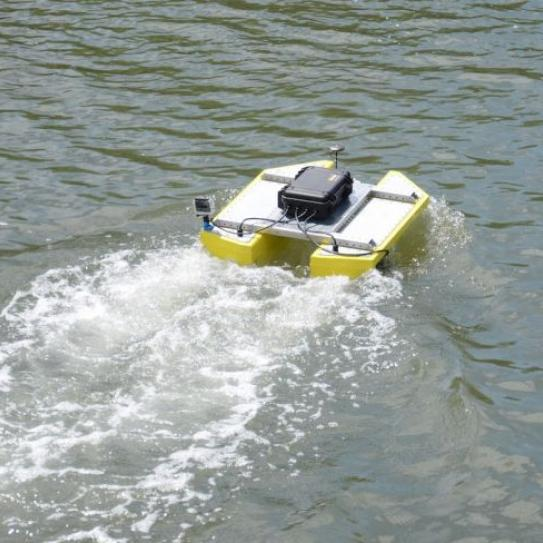robot boat in water
