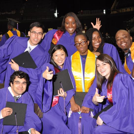 group of students in cap and gown