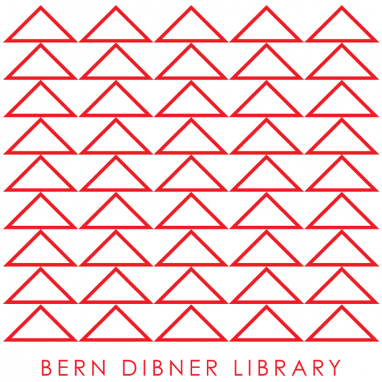 logo of the bern dibner library which is a series of red triangles lined to form a square