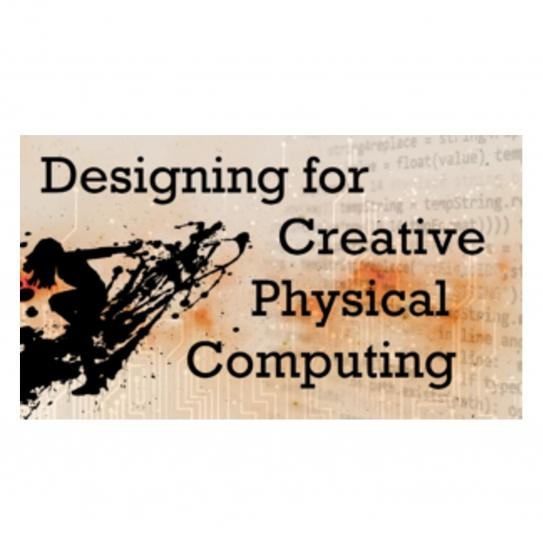 "the words ""designing for creative physical computing"" in black over a orange background, and an abstract silhouette of a woman"
