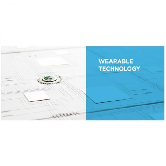 logo of wearable technology which has white lettering over  blue background as well as a chip over a white background