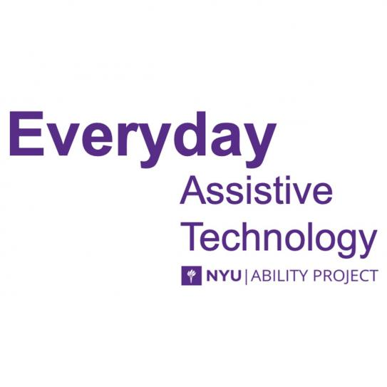 "Logo with ""Everyday assistive technology"" in purple lettering"