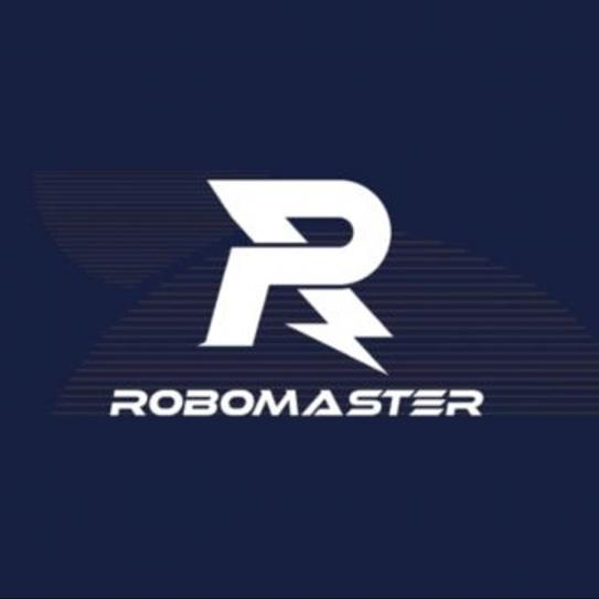"Logo with a stylized ""R"" and the words ""RoboMaster""in white lettering"