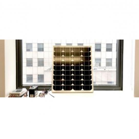 Image of a solar panel propped against a window
