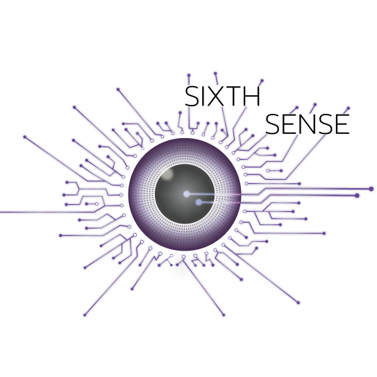 Logo of Sixth Sense which has a abstract purple eye