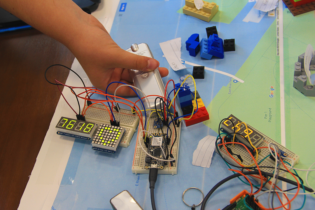 close-up of students' circuitry