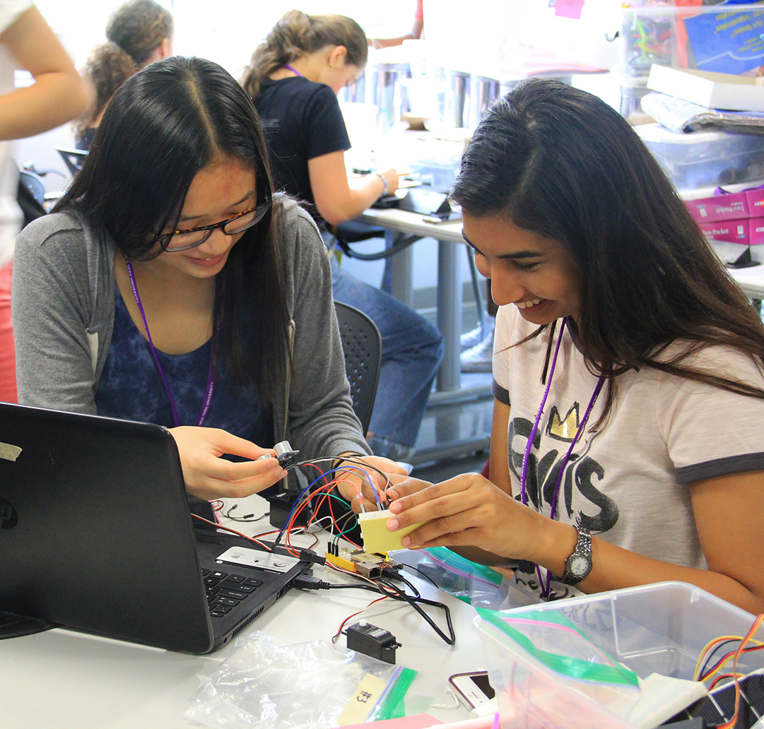 students working together on circuitry