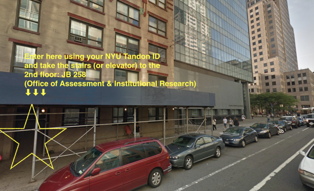 Tandon Office of Assessment and Institutional Research Office Entry Location marked by a star. Enter here using your NYU ID and take the stairs or elevator to the second floor and enter room JB 258