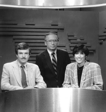 Alum Joan Von Ahn seated next to co-anchors on set