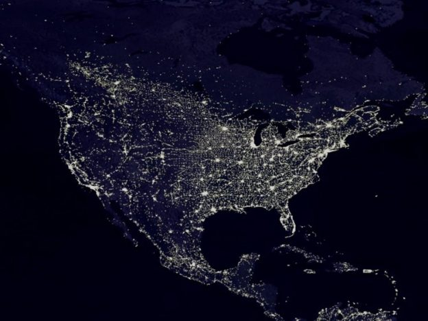map of lights across the US