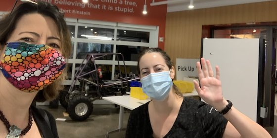 Dean Jelena wearing a face mask at the MakerSpace with Victoria Bill