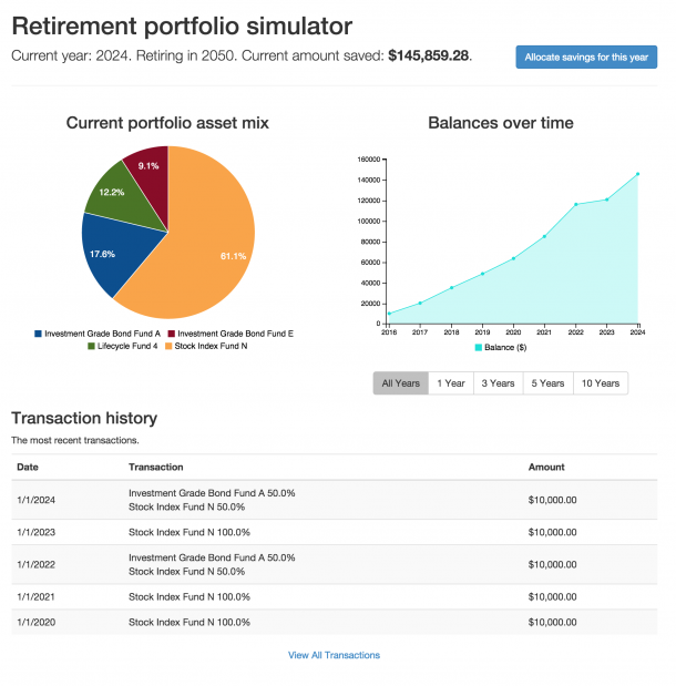 Retirement portfolio simulator